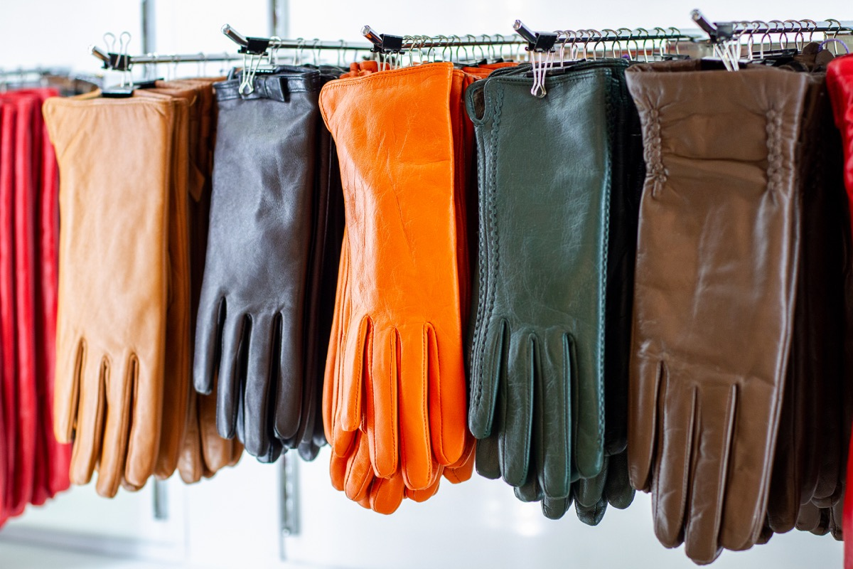 female leather gloves in store