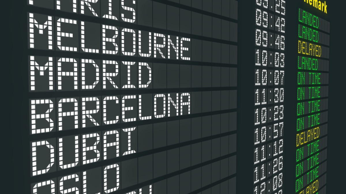 flight time board with cities