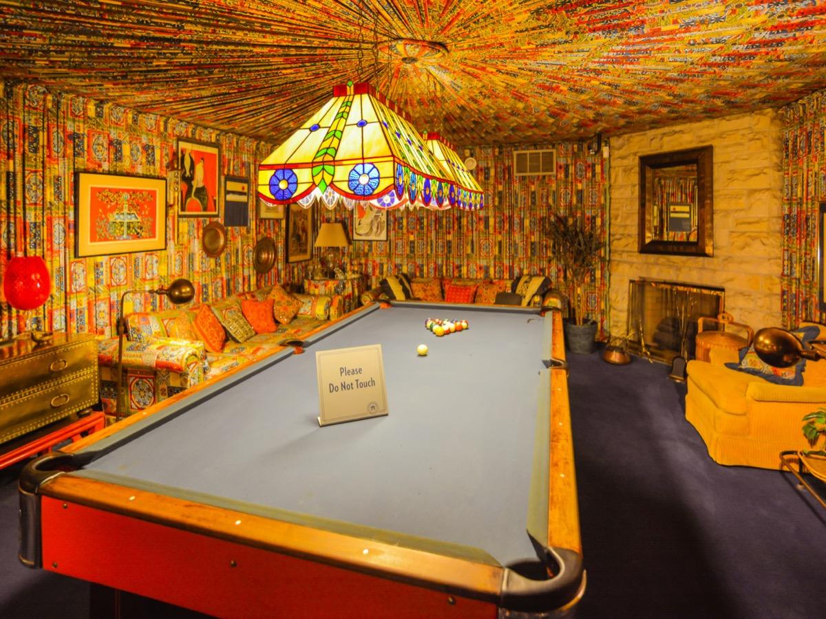 pool room inside graceland home of elvin memphis