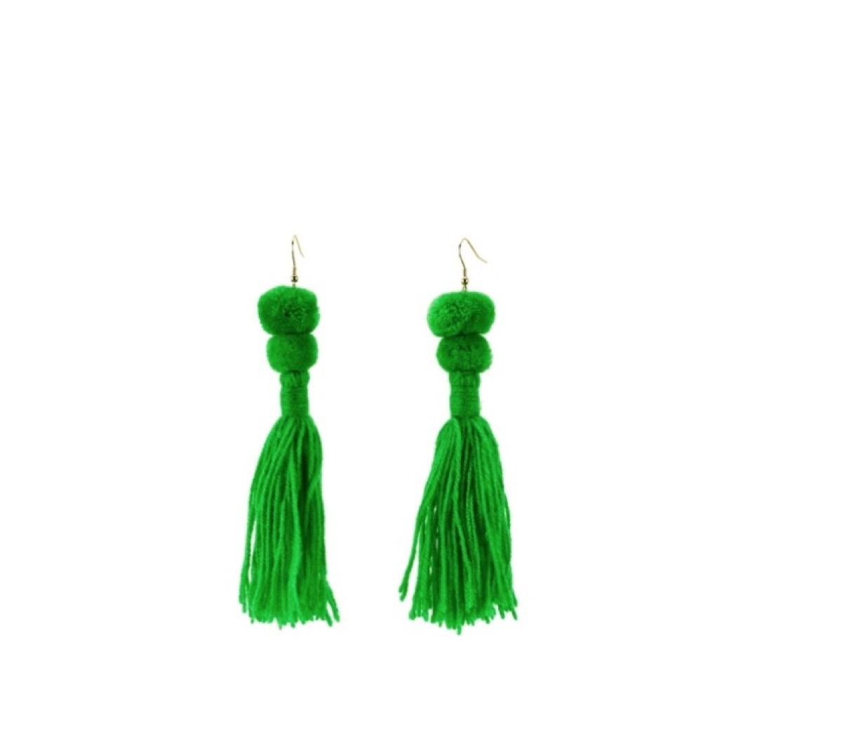 green beaded tassel earrings
