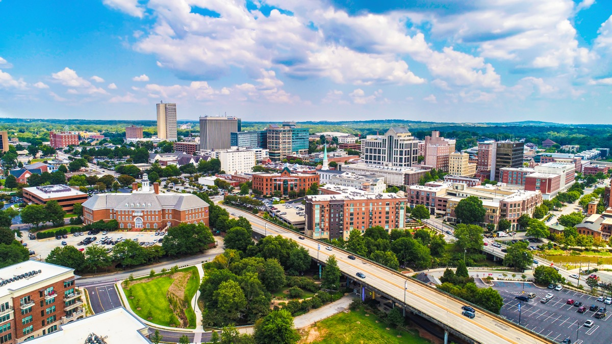 aerial view of downtown greenville south carolina