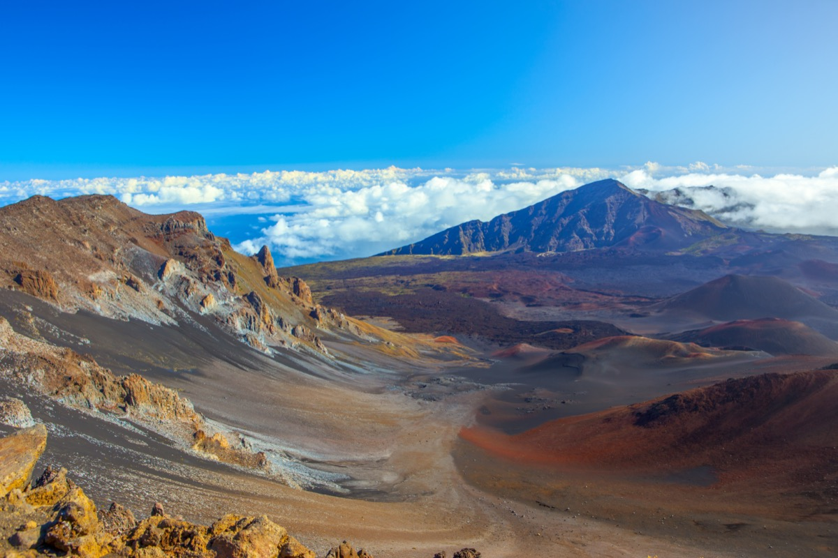 haleakala national park with its active volcano in the background