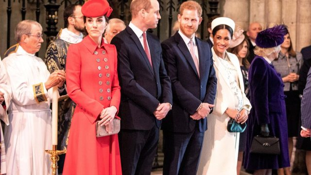 The Duke and Duchess of Cambridge, Will and Kate, with the Duke and Duchess of Sussex, Harry and Meghan, as they attend the Commonwealth Service at Westminster Abbey in 2019