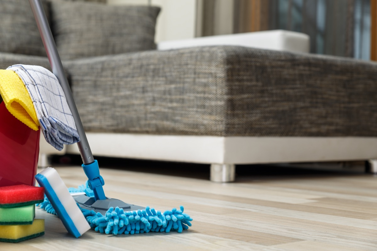 cleaning supplies and tools on the floor