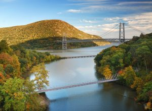 hudson valley with two bridges over the river