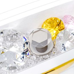 kairetool on tray with gemstones