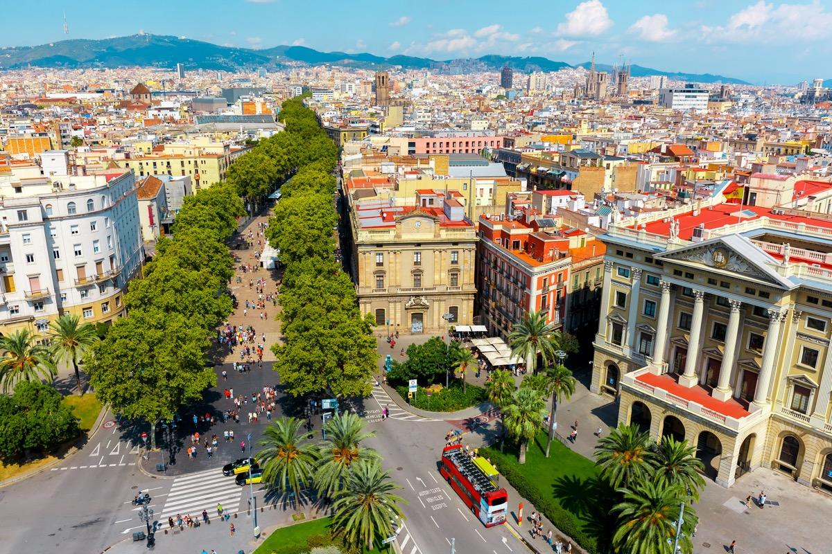 aerial view of la rambla barcelona