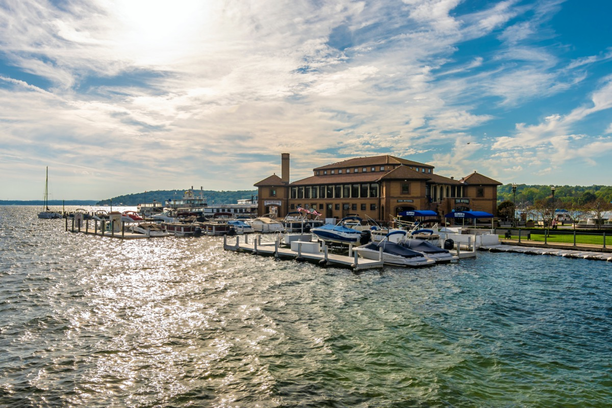 Riviera shops and boat house view in Geneva Town lake Geneva WI