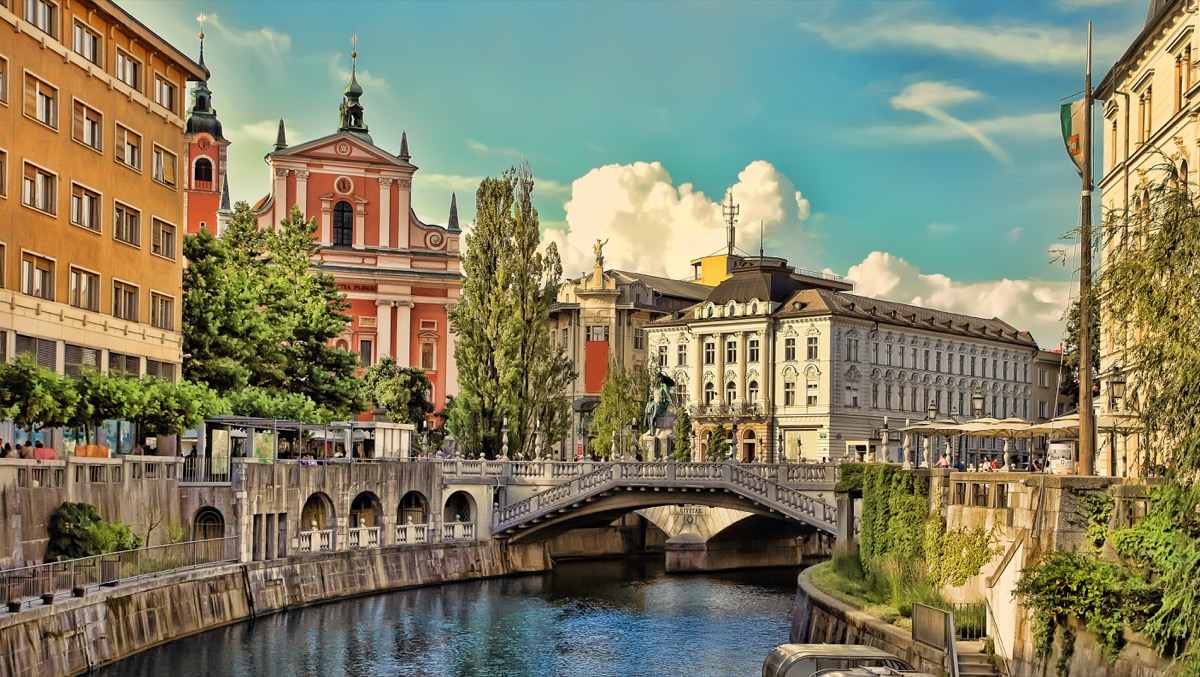 Old town embankment in Ljubljana. Ljubljana is the business and cultural center of the country.