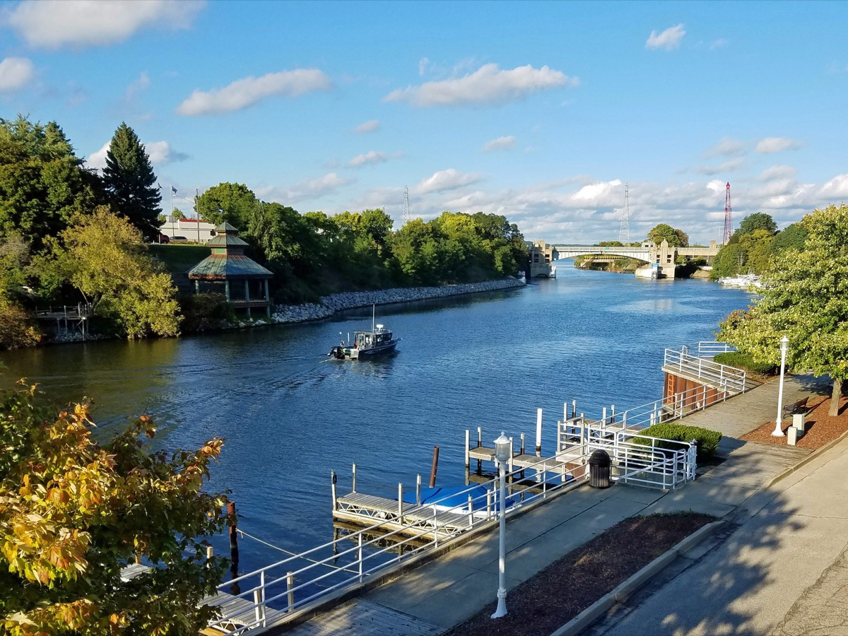 Manistee River in downtown Manistee Michigan