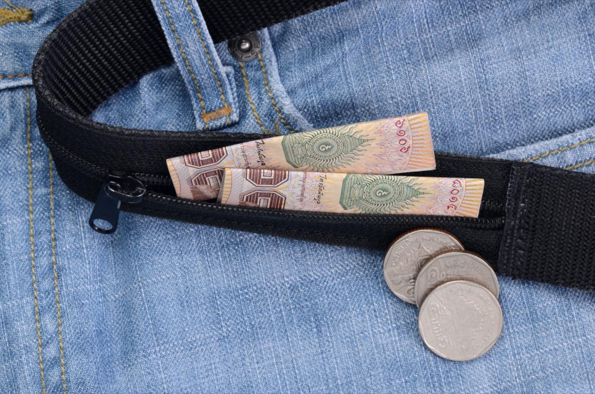 money belt with money in it