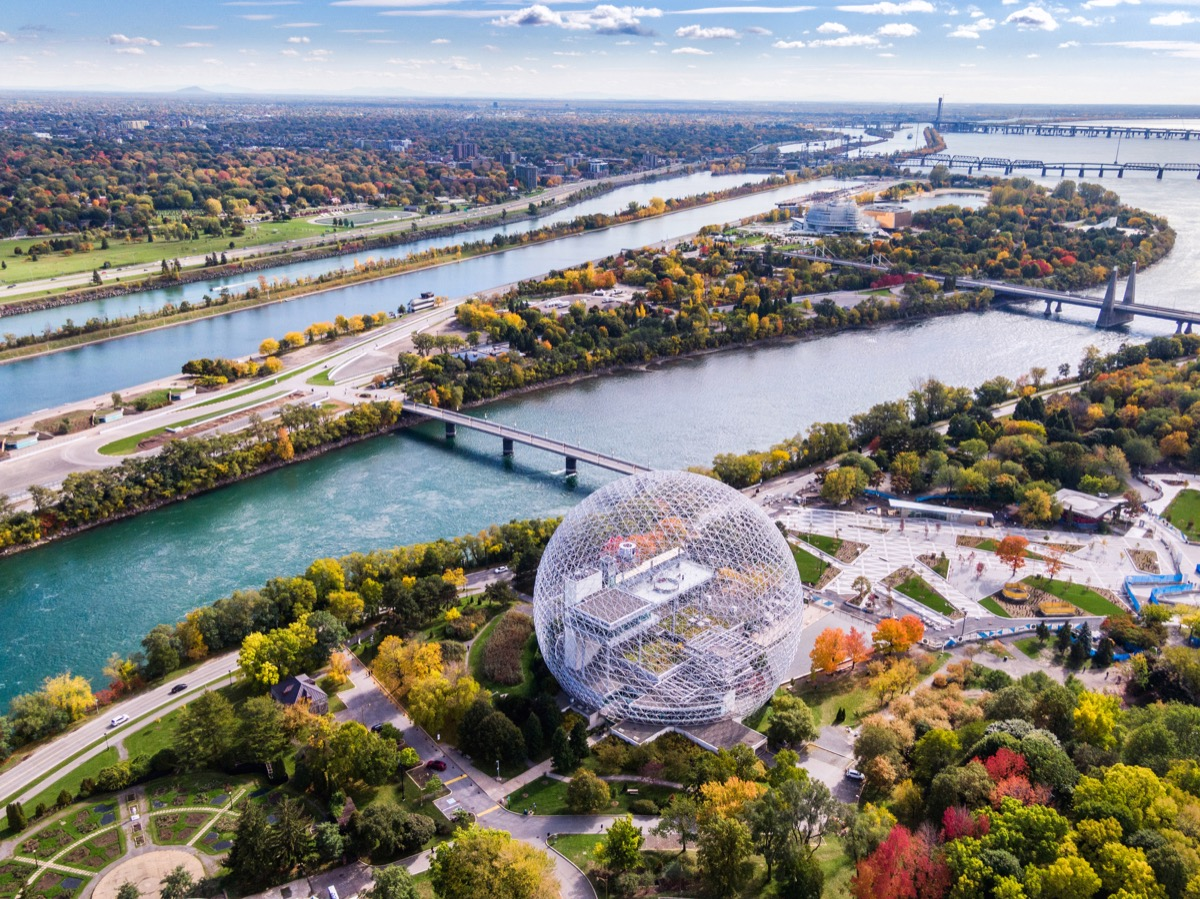 Aerial view of Montreal showing the Biosphere Environment Museum and Saint Lawrence River in fall season in Quebec, Canada.