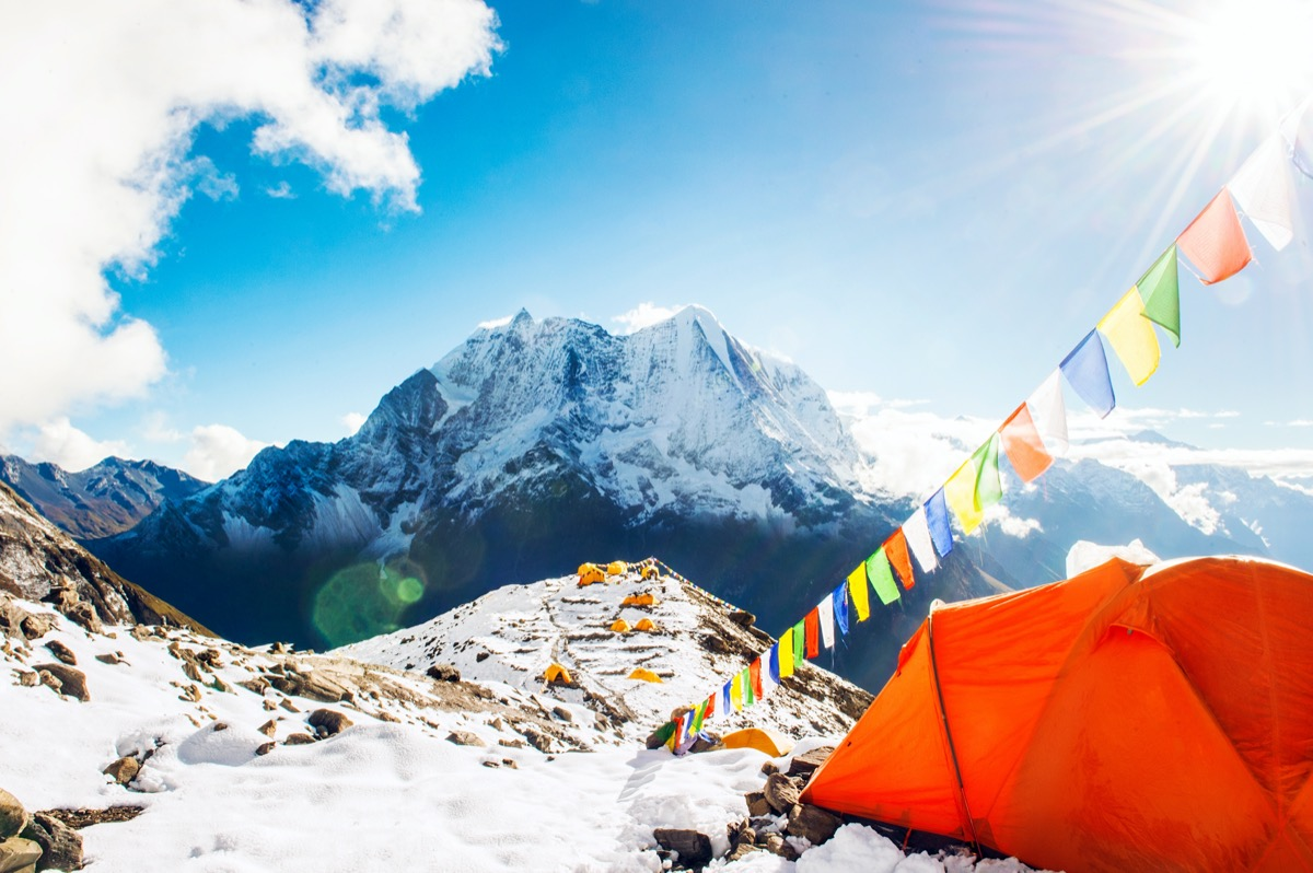 a tent on mt. everest base camp