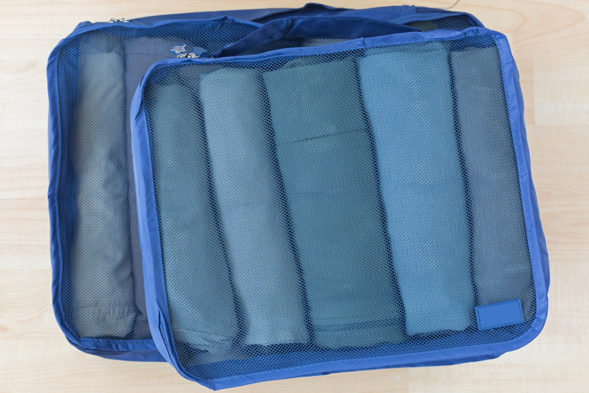 packing cube with clothes in it