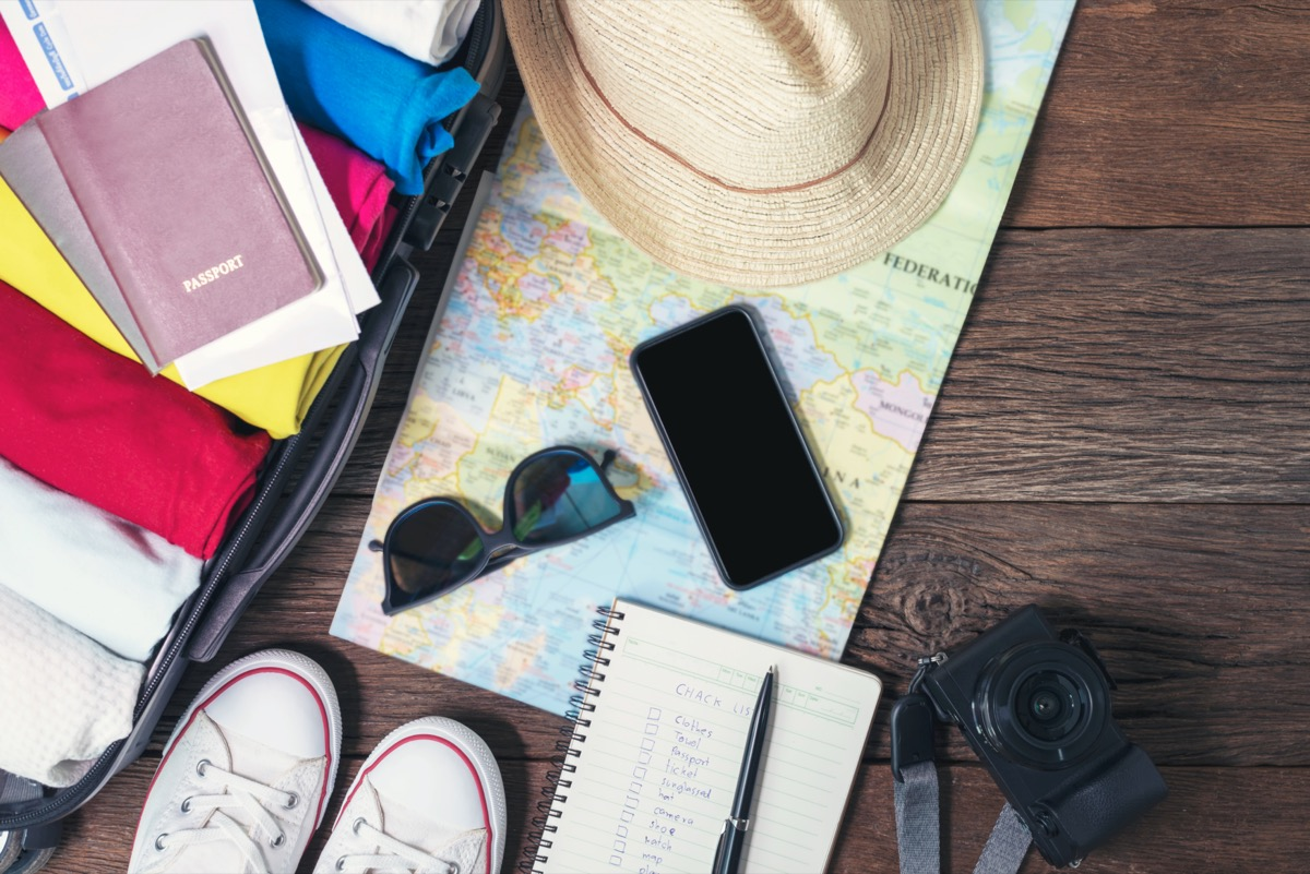 packing list with shoes and open suitcase