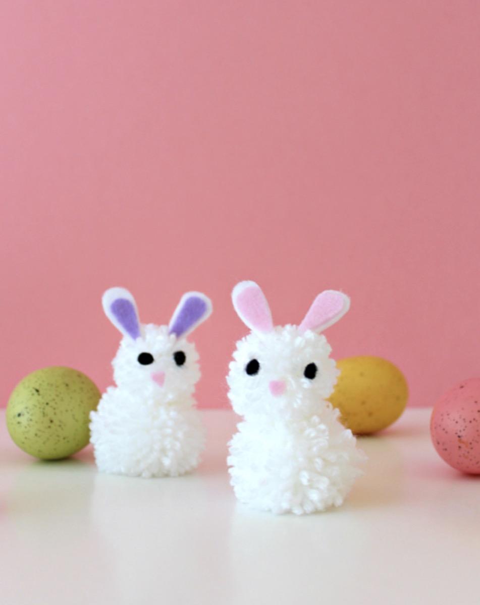 Pom-pom bunny craft