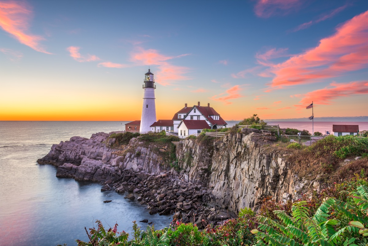 beautiful lighthouse during sunset in portland Maine