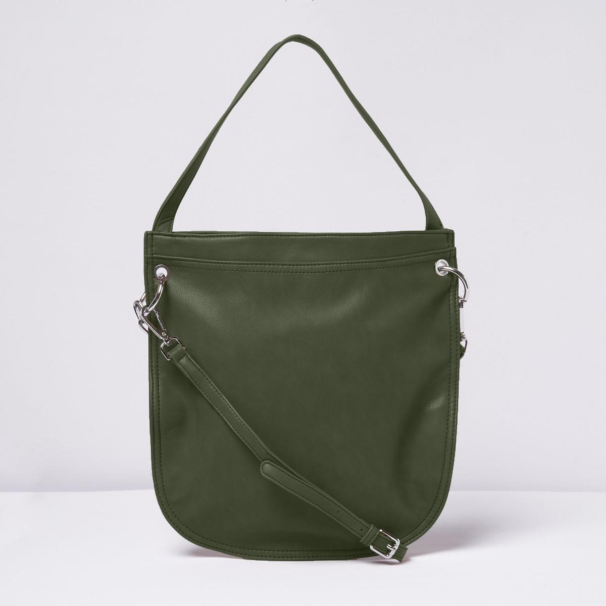 green top handle purse
