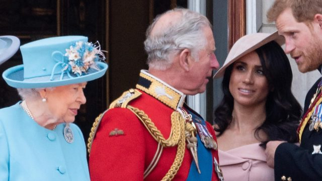 Trooping The Colour 2018 with Queen Elizabeth II, Prince Charles, Meghan Duchess of Sussex, Prince Harry on the balcony at Buckingham Palace