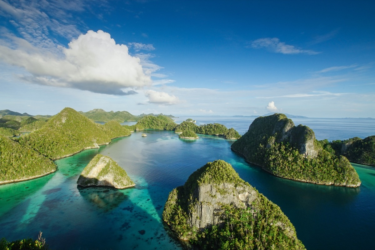a collection of thousands of islands in raja ampat Indonesia