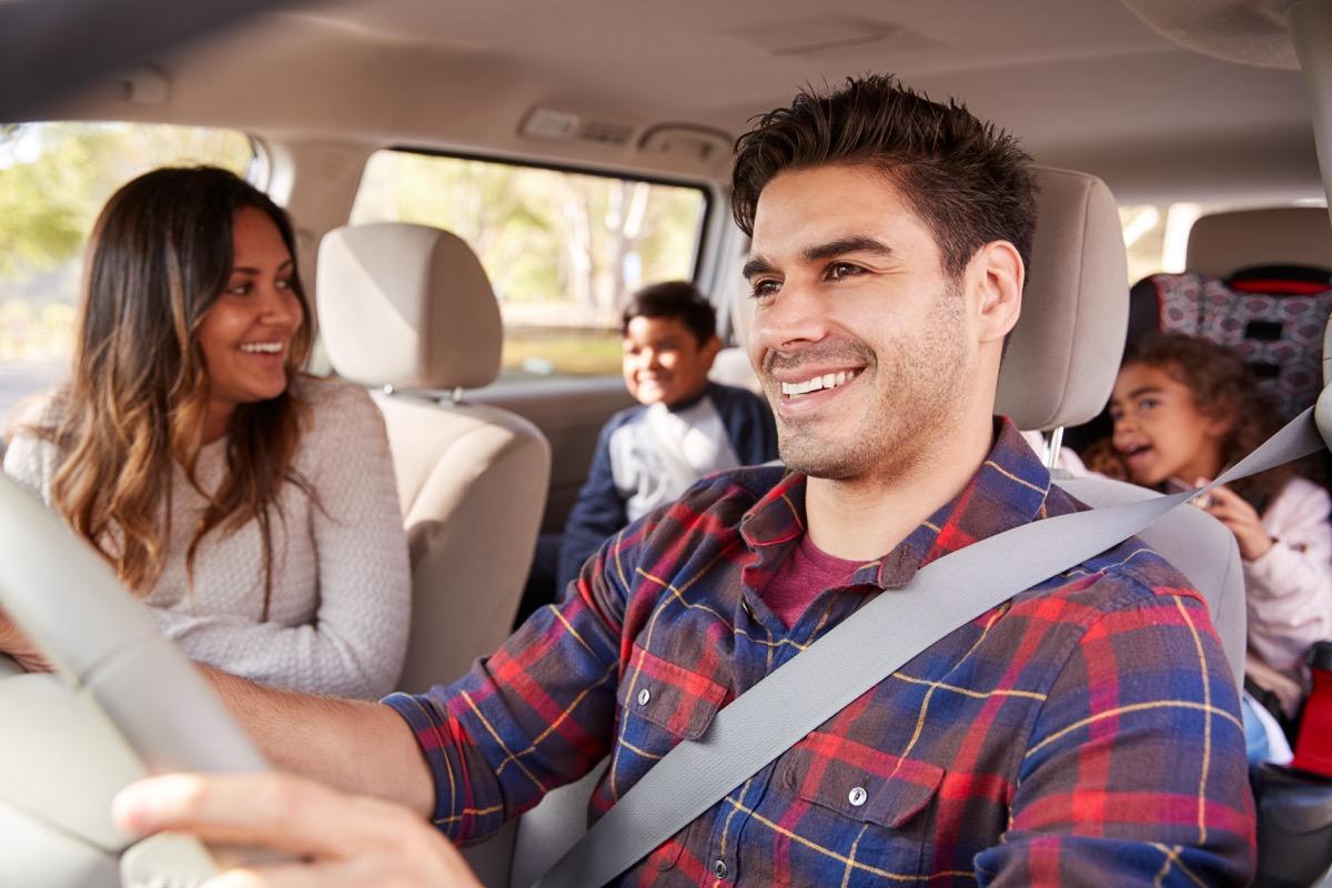 Family road trip in car