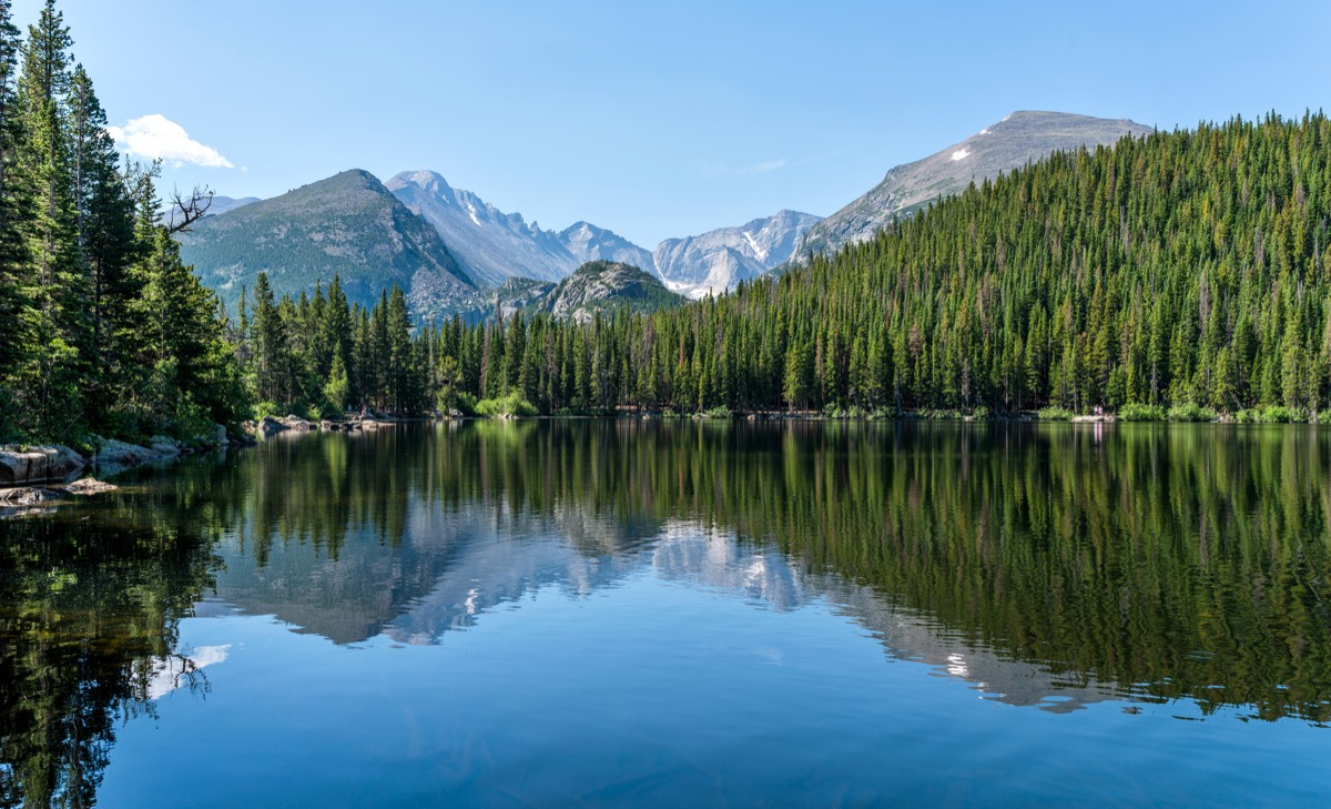 Longs Peak and Glacier Gorge reflecting in blue Bear Lake on a calm Summer morning