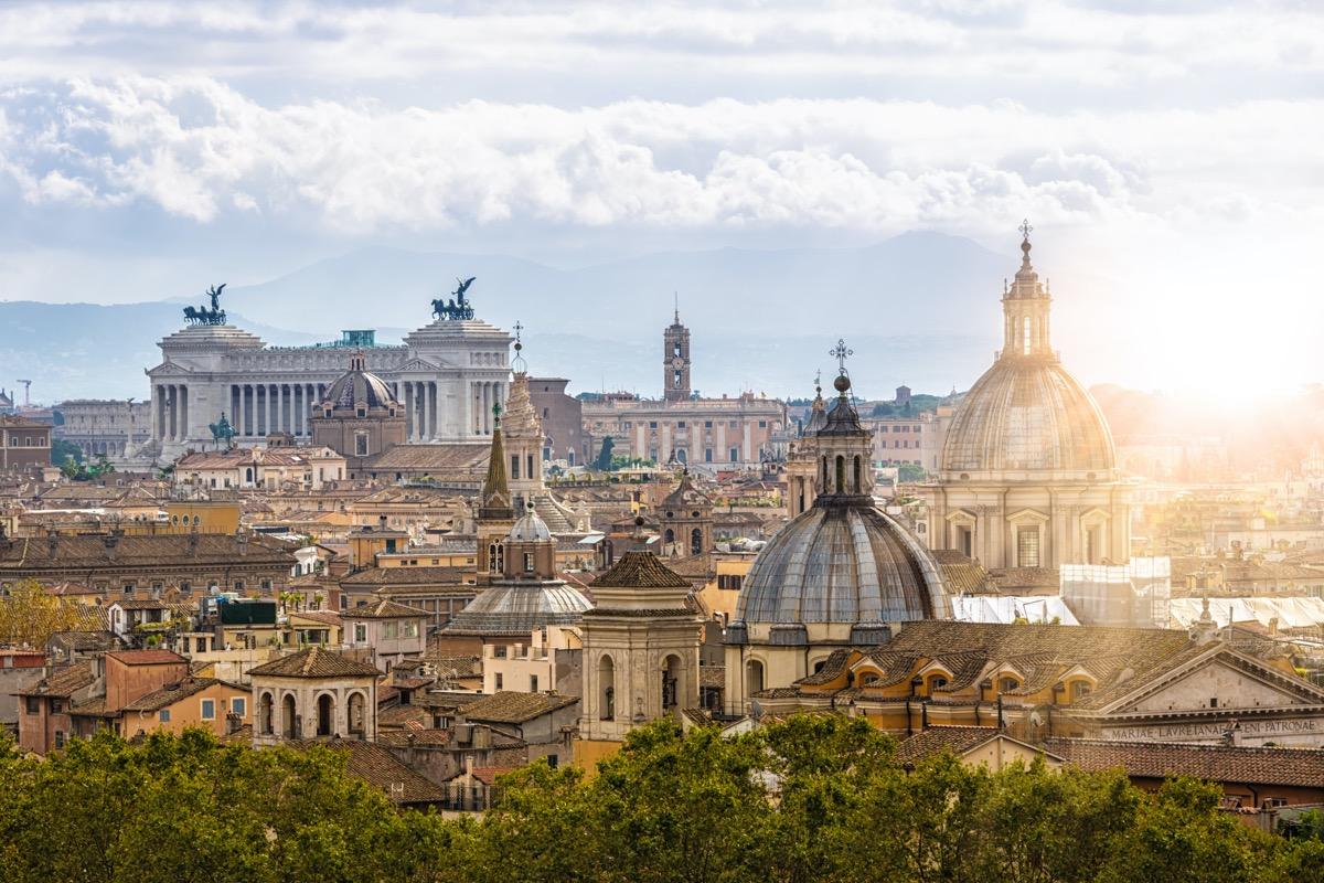Rome skyline in the sunlight