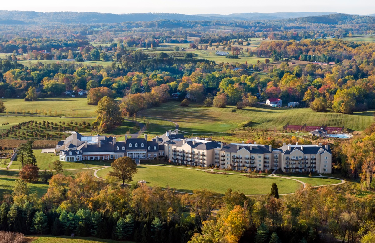 aerial view of a countryside resort in virginia