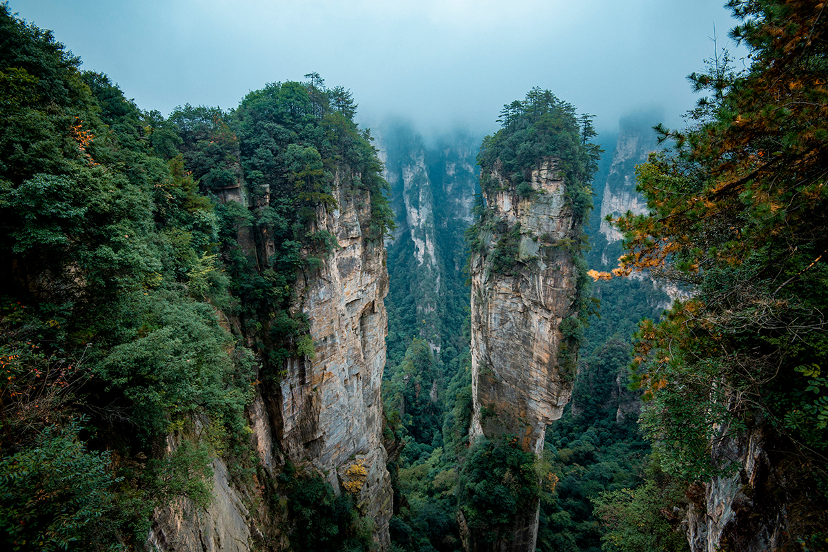pillars of quartz rock formation in China