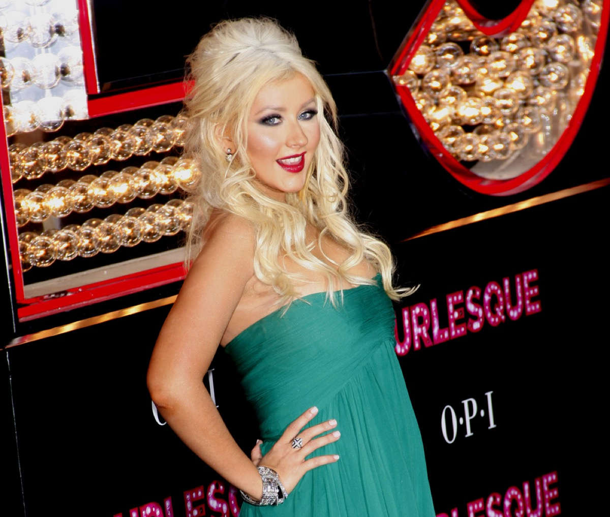 christina aguilera on the red carpet in 2010