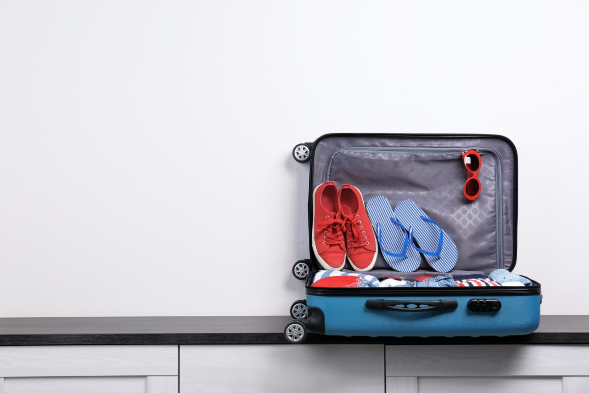slippers in luggage