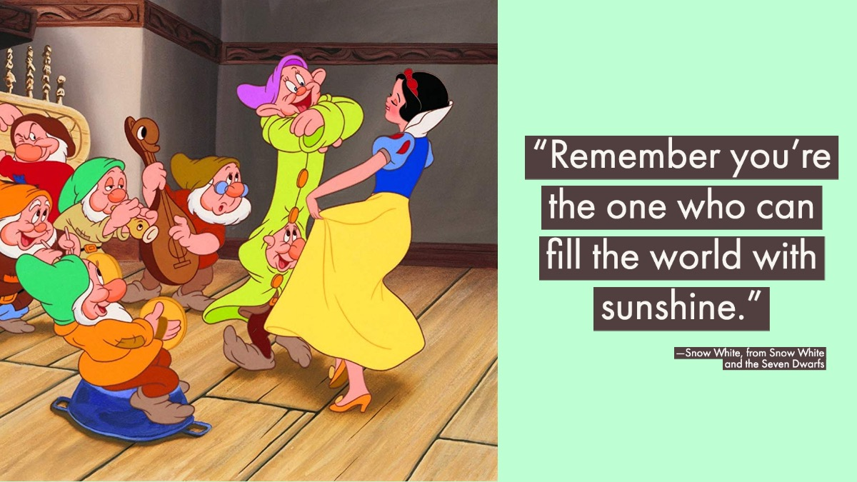 snow white graphic with quote