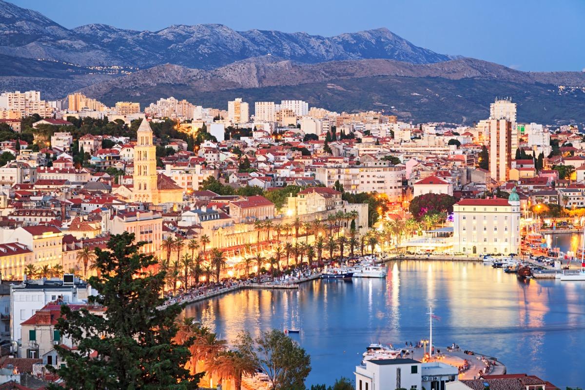 Night view of Split old town, Croatia