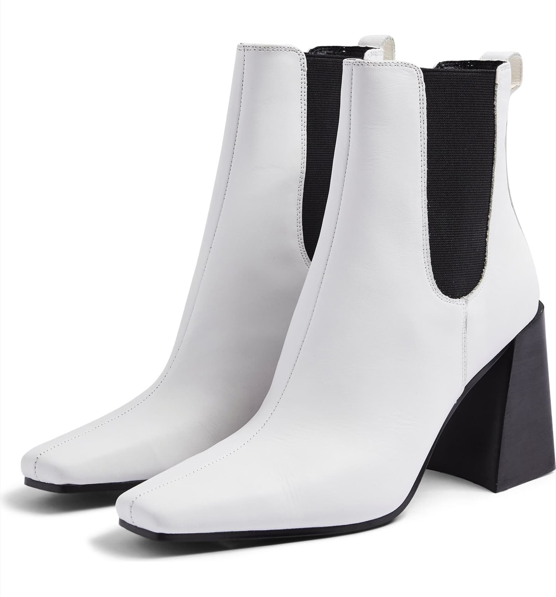 white square toed boots