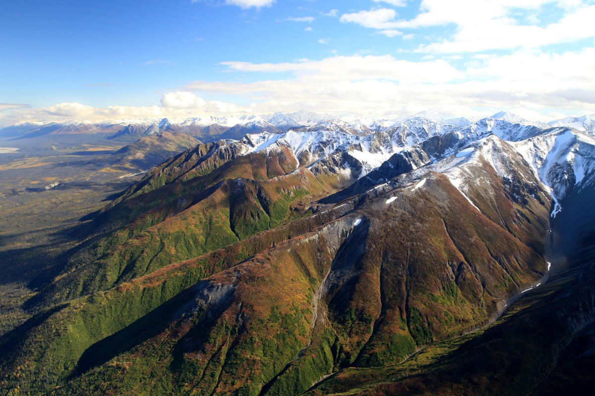 aerial view taken from the plane of st elias national park and preserve alaska