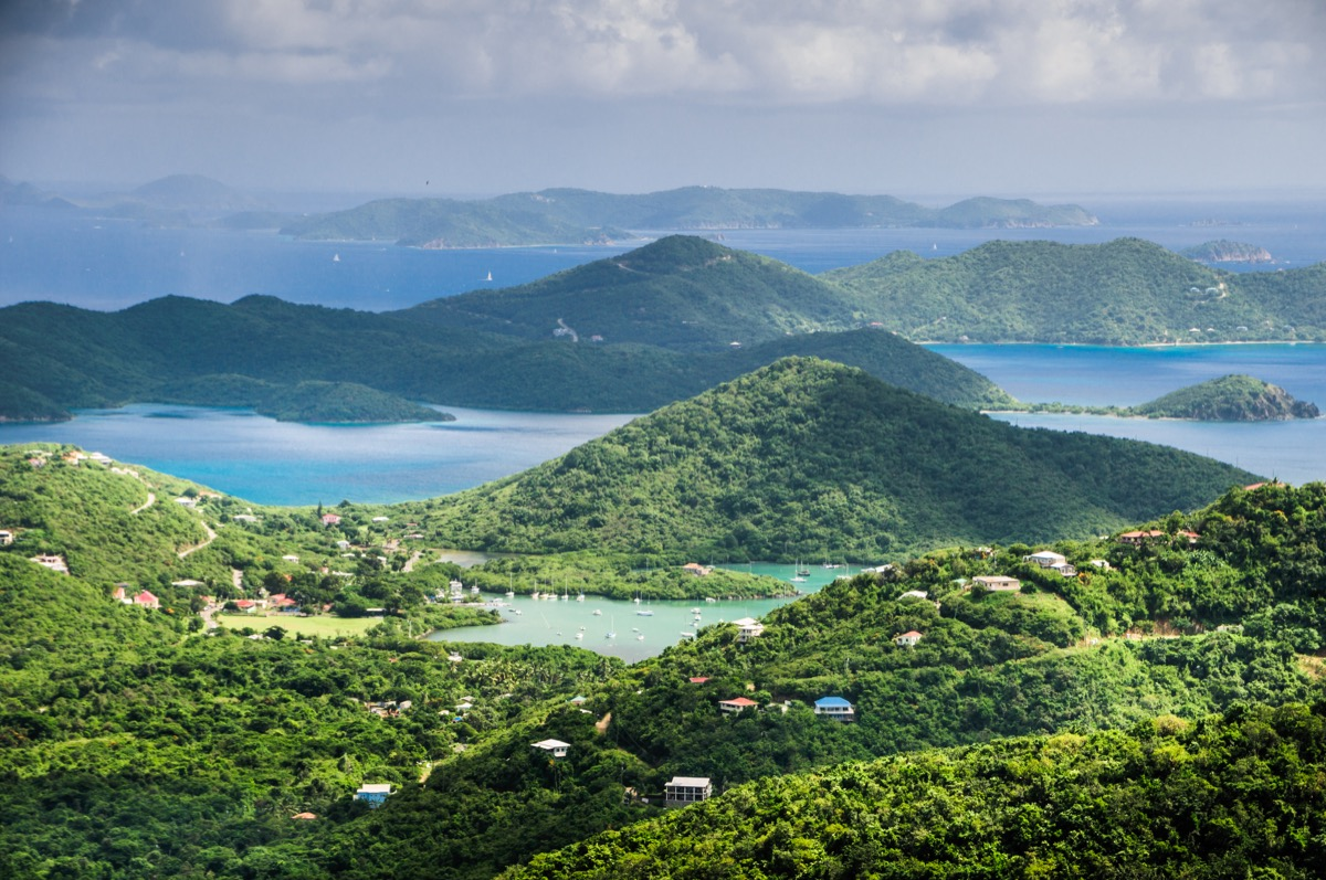 an overlook of the hills and bays of Saint John, United States Virgin Islands.