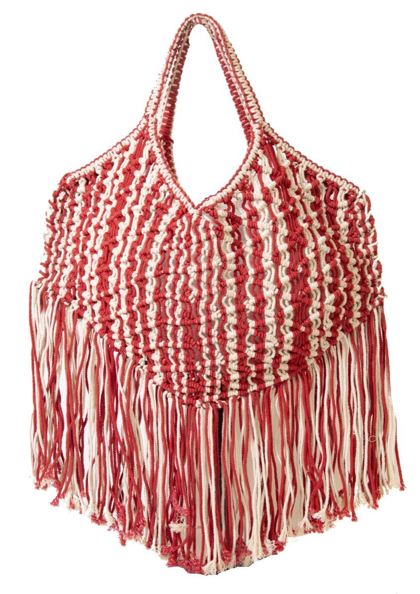 red and white fringe bag