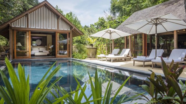 swimming pool in a jungle with a private villa and bed