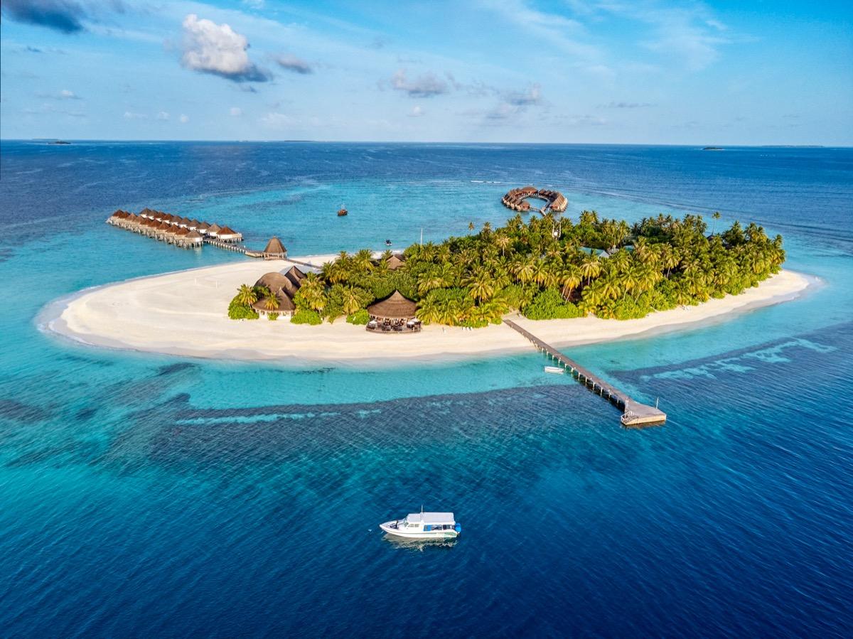 aerial view of a maldivian island resort