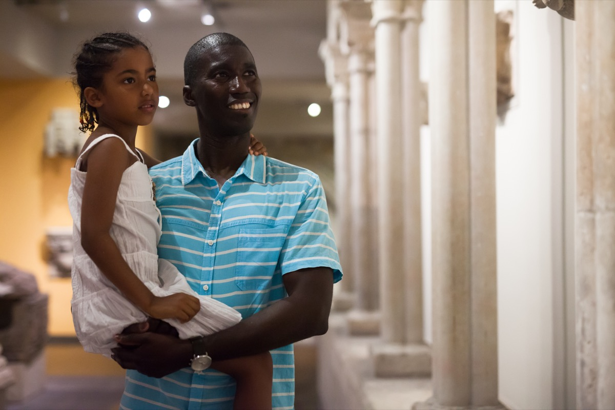 Father daughter visiting historic site
