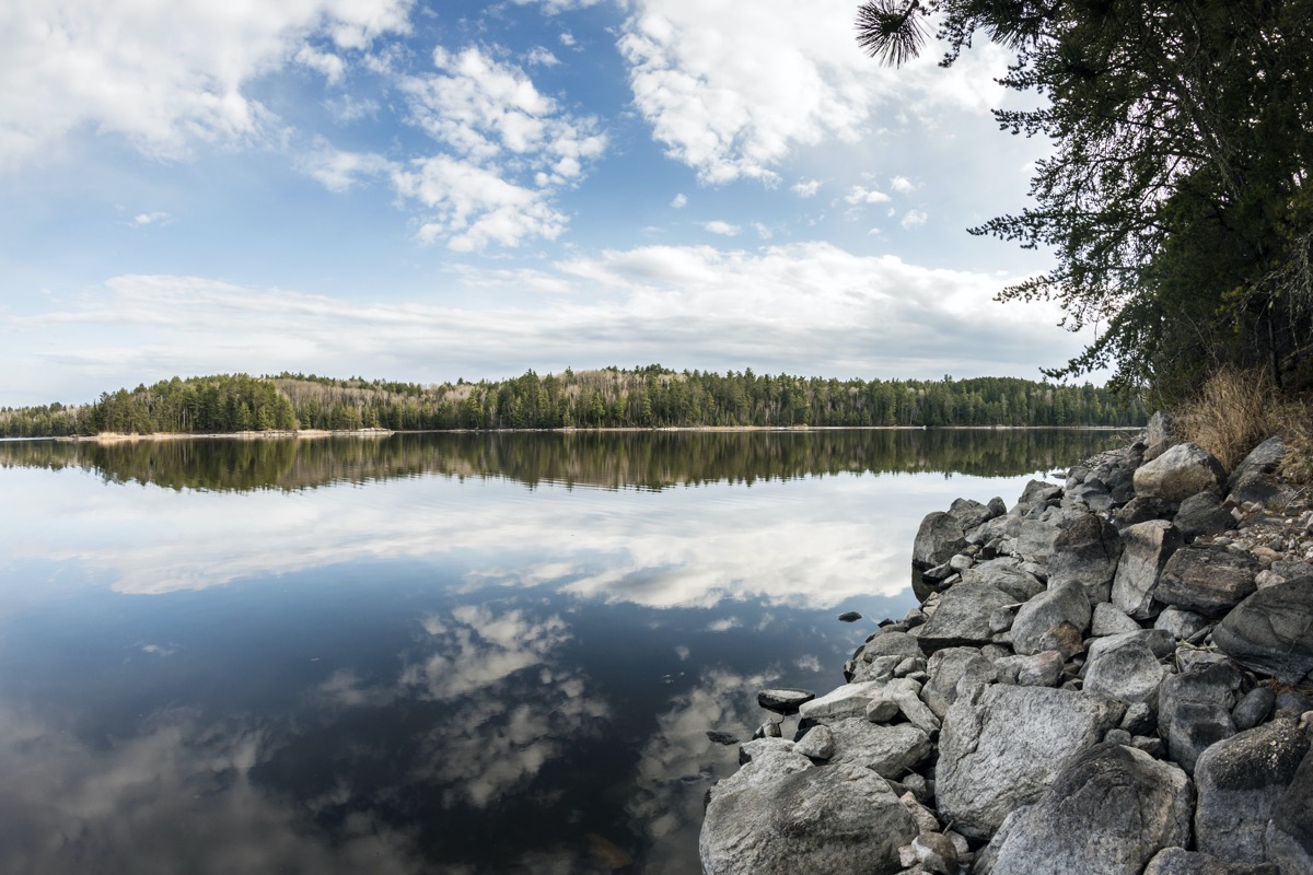 Landscape view of a shore at Voyageurs National Park in northern Minnesota