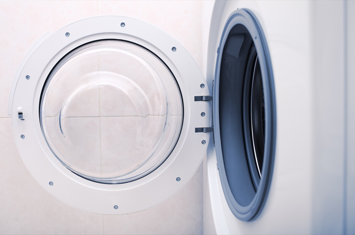 washing machine view from the side with door wide open