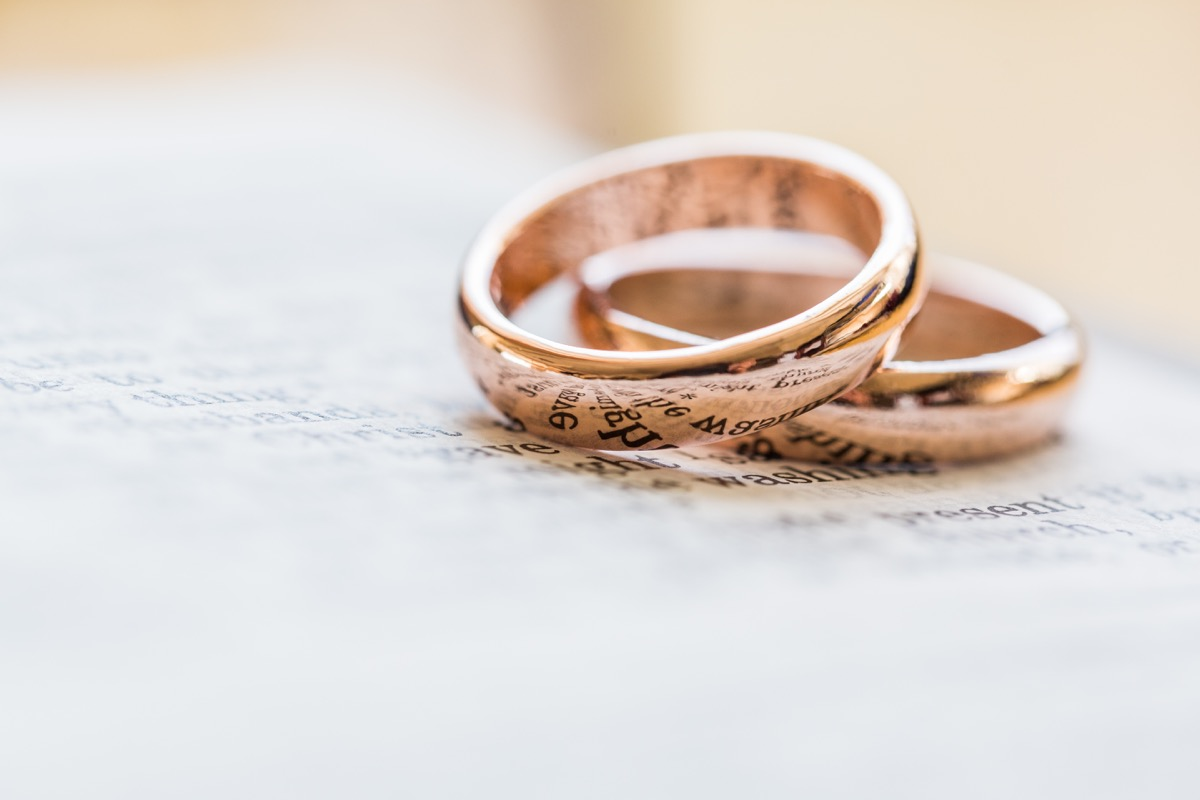 Two wedding rings on a piece of paper