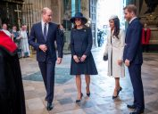 The Duke and Duchess of Cambridge, Prince Harry and Meghan Markle attend the Commonwealth Service at Westminster Abbey, London in 2018
