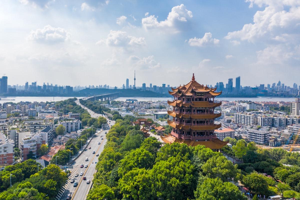 skyline view of wuhan china