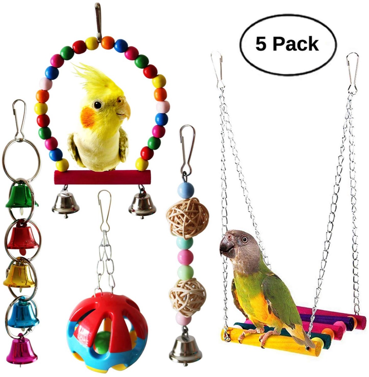 Bird toy and hammock set with parakeets