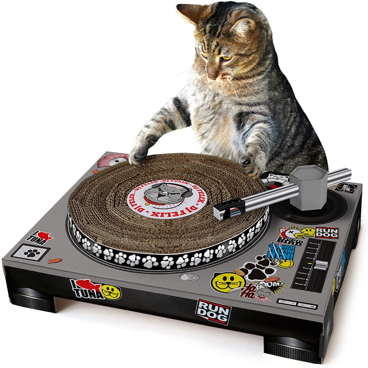 Cat using turntable scratch pad, pet gifts from Amazon