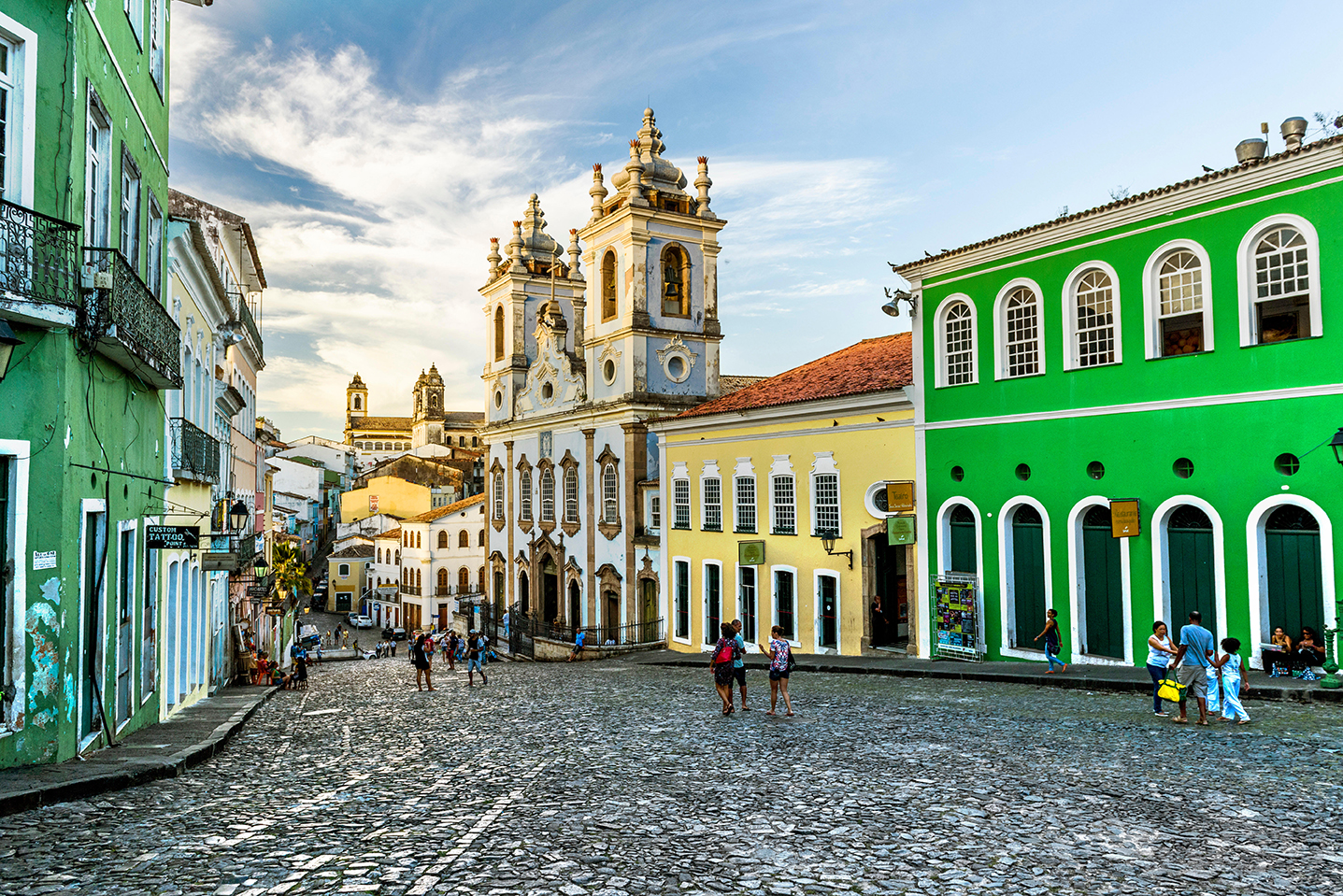 lime green and yellow buildings in Salvador