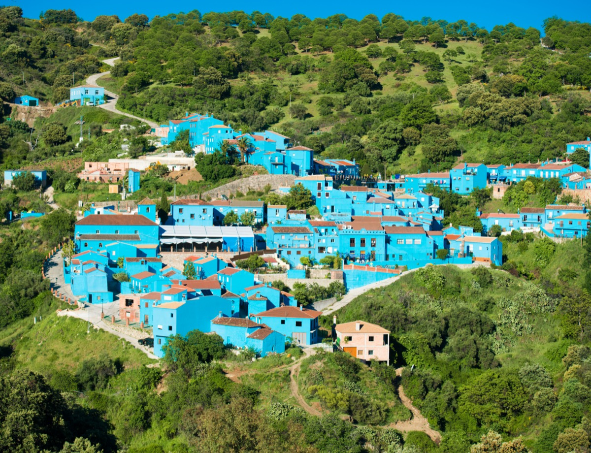 blue town on a lush green hillside