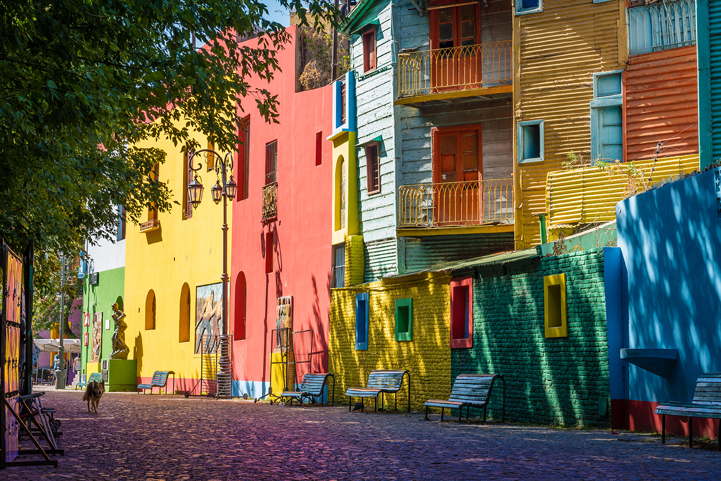 brightly painted houses in buenos aires